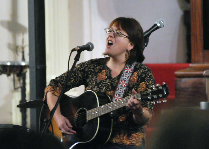 Shanna Underwood of Portland performs at the political asylum fundraiser Sunday. Also performing were the Boston-based band The Adam Ezra Group and Maine songwriters.