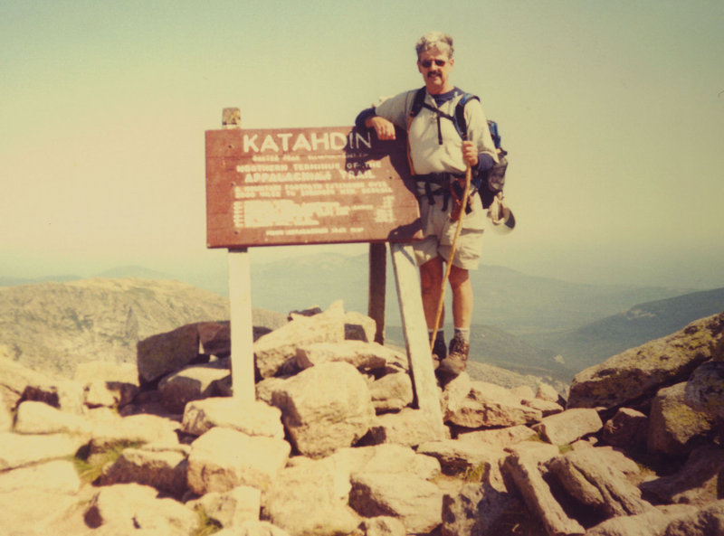 Daigle stands atop Mount Katahdin in this August 2003 photo. His highest total was 45 climbs in one year.
