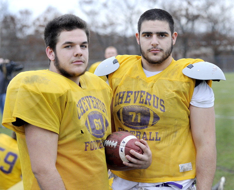 Mike Dedian, left, and Christian Deschenes are part of a solid line that has brought Cheverus within one victory of a second straight perfect season.