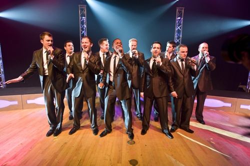 Straight No Chaser will sing a cappella at Portland's Merrill Auditorium on Tuesday.
