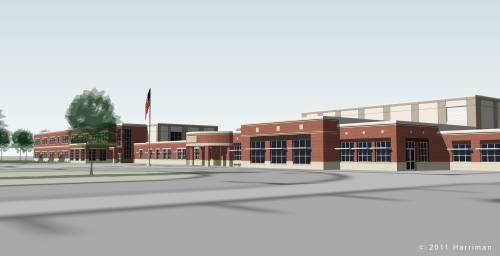Courtesy of Harriman and Scarborough School Department An architect's rendering shows a proposed $39 million new Wentworth Intermediate School in Scarborough, approval of which is on the Nov. 8 town ballot.