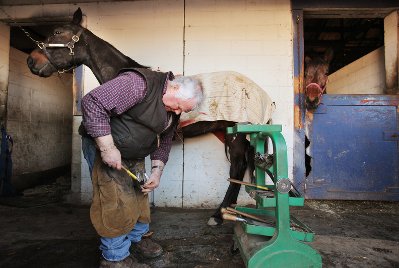 Ernie Lowell shoes a horse at Scarborough Downs last week. The farrier has served Scarborough Downs for 43 years.