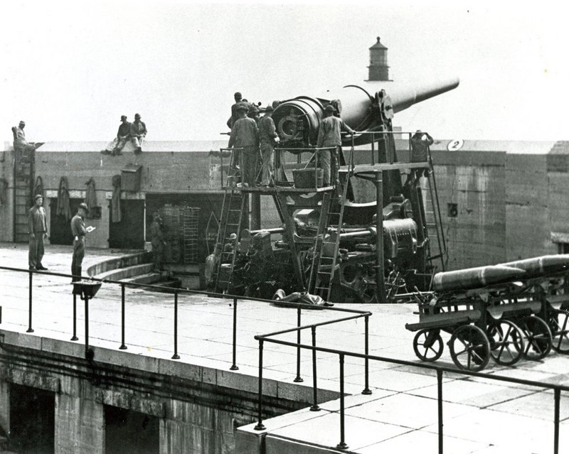 Battery Blair as it appeared in the 1930s. The lower area housed ammunition magazines and plotting rooms.