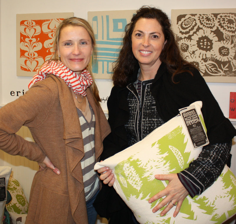 Fabric artist Erin Flett and Kate Burnham, who is a fan of Flett's work.