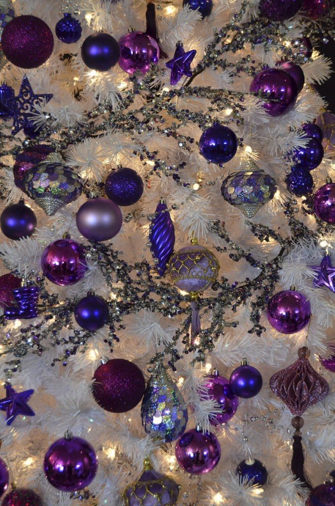 Holiday ornaments dazzle in purple.