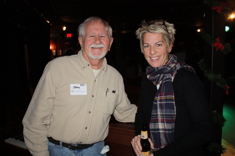John Linscott of Mainestream Jazzmasters and Julia Langham, who serves on the Freeport Factory Theater's artistic advisory committee.