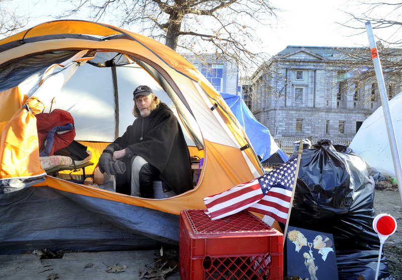 Harry Brown, 59, is among the Occupy Maine stalwarts who are remaining in the protest encampment at Lincoln Park in Portland despite the increasing cold.