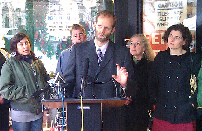 Garrett Martin, executive director of the Maine Center for Economic Policy, discusses the benefits of consumers spending money at locally owned businesses. He spoke at a press conference this morning at Longfellow Books in Portland.