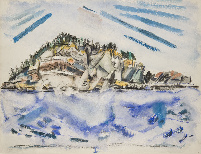 """""""Island (Ship's Stern)"""" by John Marin, 1934, from the Marin show at the Portland Museum of Art"""