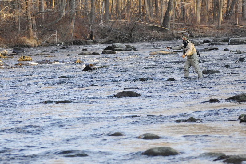 Sal Detarli of Canterbury, Conn., casts his line during this year's Freeze Up. The annual event attracts fly fishermen from as far as New York and Connecticut.
