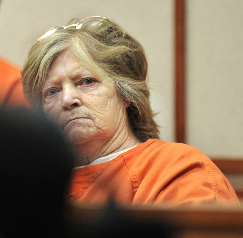 Carol Field, 66, of Standish appears in court in Portland Wednesday to face five charges of arson in Cumberland County. She is scheduled to be arraigned on five more charges of arson in York County on Friday.