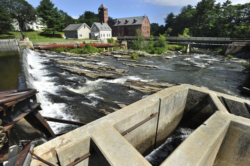 A public forum Thursday in Yarmouth took up a proposal by the town to remove a pair of structures from the Royal River – the Bridge Street Dam, above, and the East Elm Street Dam upriver.