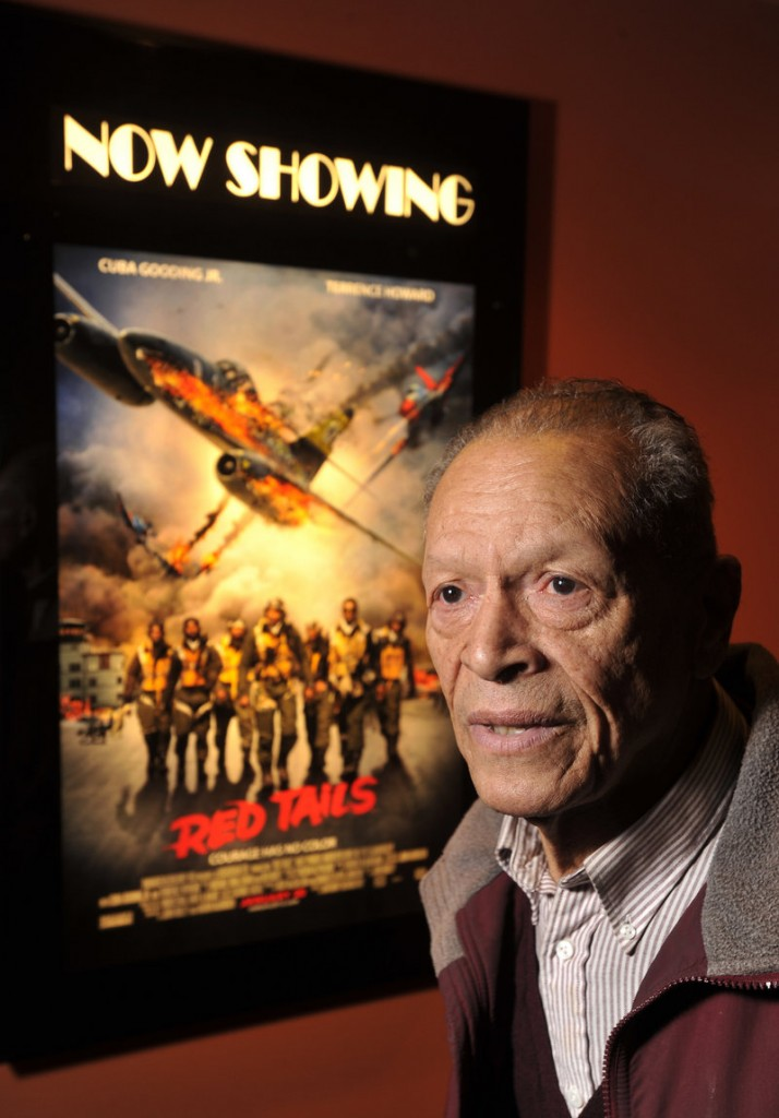 "James Sheppard of South Portland, one of the Tuskegee Airmen, went to see ""Red Tails,"" a fictionalized account of his all-black fighter group's heroics and the racism they faced, as the film opened on Friday at the Cinemagic Grand at Clarks Pond in South Portland."
