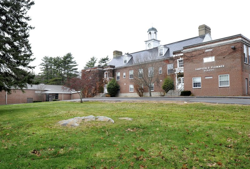 The Plummer-Motz school in Falmouth, seen in November, closed in June. OceanView in Falmouth wants to build senior citizen housing on acreage around the school, and would allow the town to keep using the Motz building as a community recreation center, as it is now. OceanView may also provide space for a library or private school in the Plummer building.