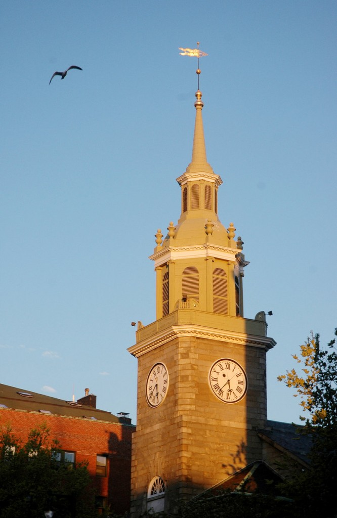 The steeple of Portland's First Parish Church on Congress Street is in need of repair, which the church hopes to accomplish this summer.