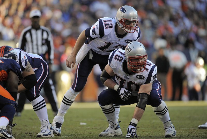 Tom Brady hovers over Patriots left guard Logan Mankins, who is the ringleader of the offensive line, according to teammate Vince Wilfork.