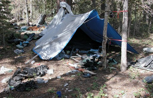 A remote camp littered with supplies and trash authorities believe was left behind by an elusive mountain man.