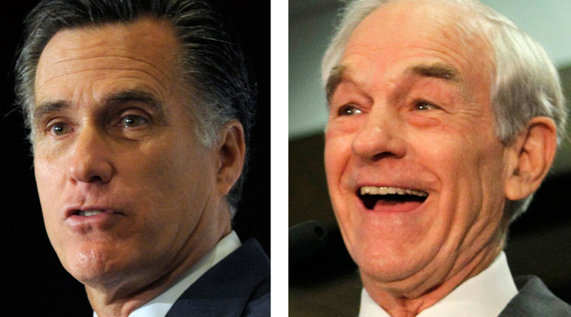 Mitt Romney, left, won the Maine caucuses by a small margin, but supporters of Ron Paul, right, allege bias.