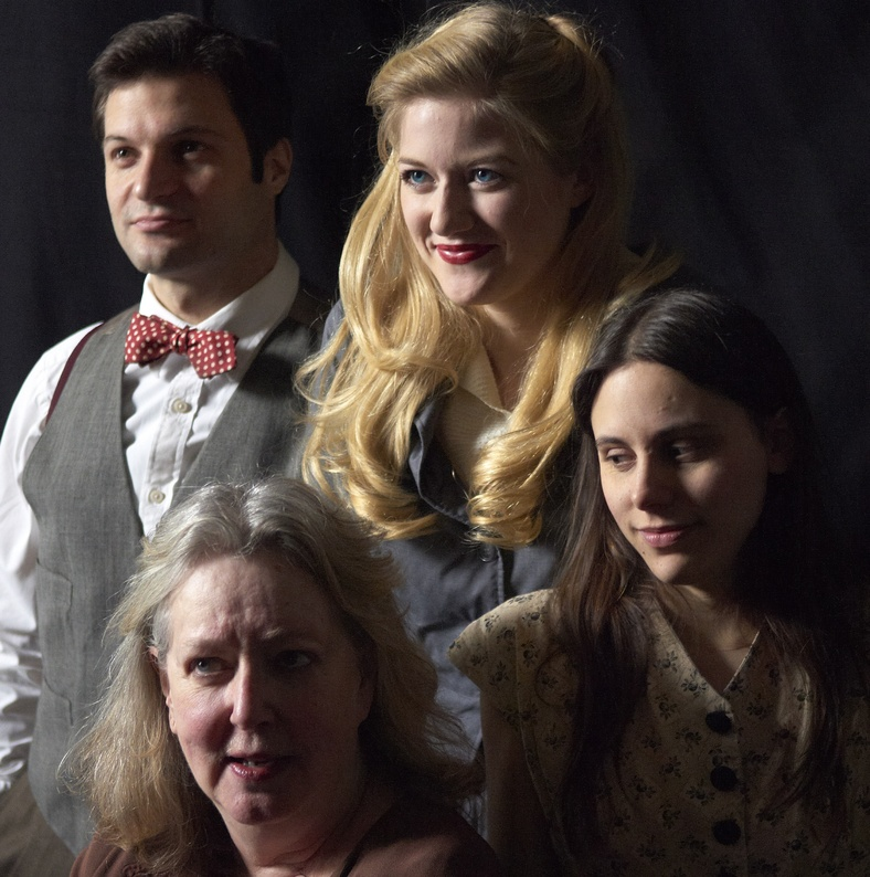 "Justin Adams, Maureen Butler, Courtney Moors and Sarah Lord in the opening moments of Portland Stage Company's production of ""Hidden Tennessee"" by Tennessee Williams, opening this week and continuing through March 18. new keyword"