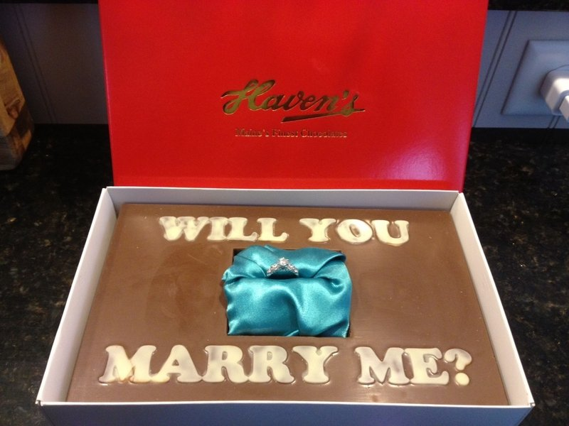Tom McArdle worked with Haven's to plant, in a block of milk chocolate, the ring he intended to present to Susan Giffard when he proposed last month.