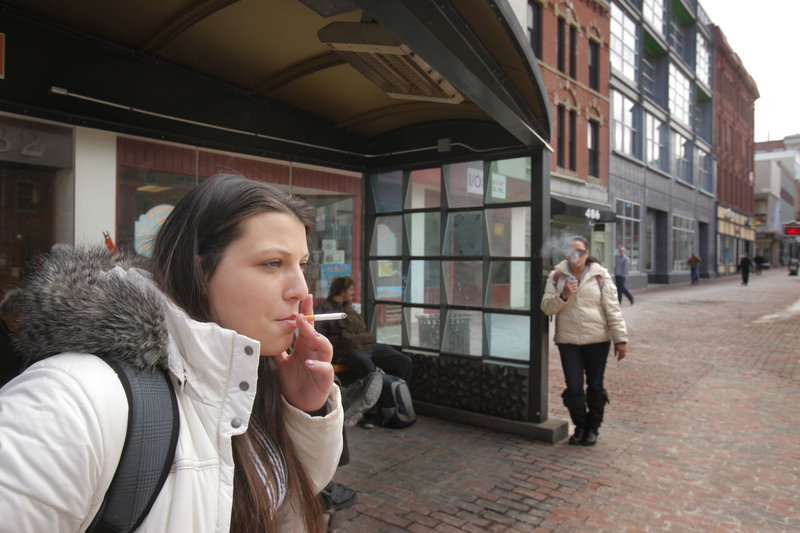 Victoria Patriotti says she doesn't throw her cigarette butts on the ground when she's done smoking. Instead, she puts them in the trash or in her pocket. Starting March 7, people who drop butts on the ground in Portland could be fined $100.