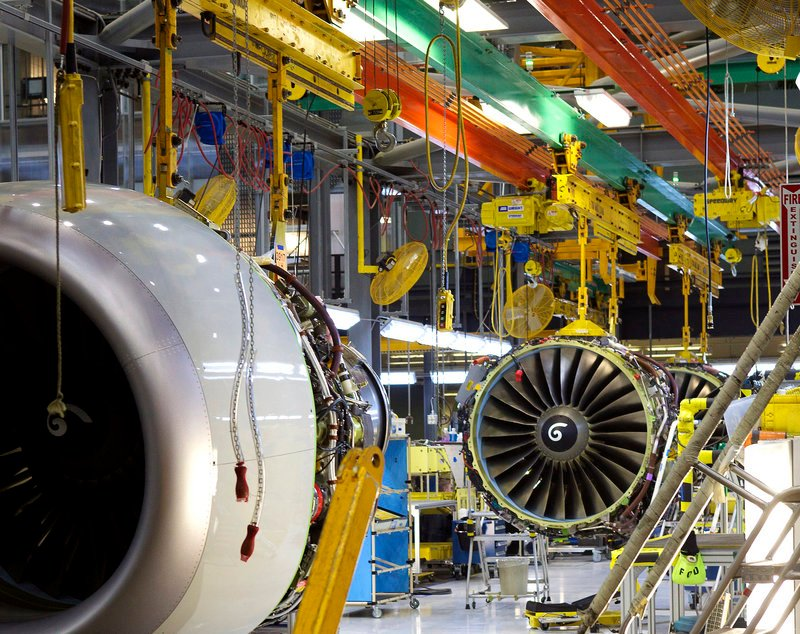 Boeing 737 engines sit in the assembly area last month at the company's factory in Renton, Wash. Boeing raised the production rate of its 737 manufacturing line to 35 planes per month in response to a jump in orders.