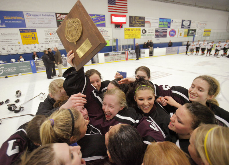 It's time to celebrate for the Greely girls, who advanced to the state championship game with a 7-2 win over Brunswick Wednesday night at Portland Ice Arena.