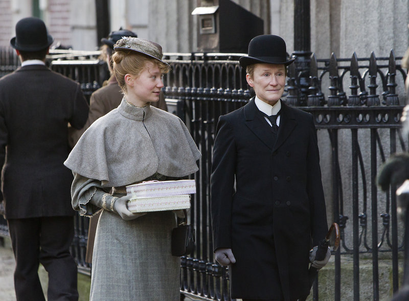 "Glenn Close with Mia Wasikowska in ""Albert Nobbs."""