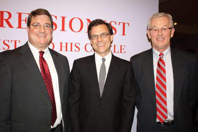 Portland Museum of Art Director Mark Bessire, center, with Tom Whelan of Bath Savings Institution, left, and Bob Moore, CEO of Dead River Co. Both companies sponsored the show.