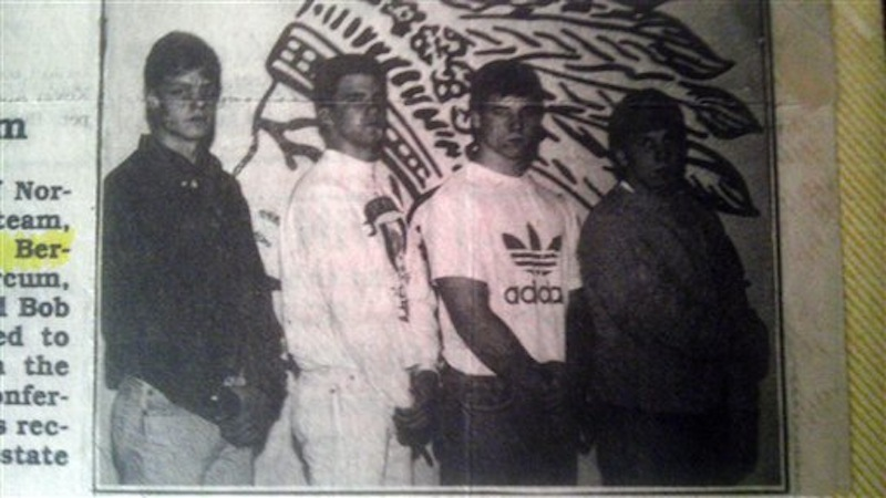 This Cincinnati Enquirer newspaper clipping provided by Steve Berling, shows Norwood High School football teammates from left, Berling, Scott Marcum, Marc Edwards and Robert Bales, posing for a photo during the 1990-91 school year, in Cincinnati. Bales is the Army soldier accused of gunning down 16 Afghan women and children in a nighttime rampage in Afghanistan. (AP Photo/The Cincinnati Enquirer)