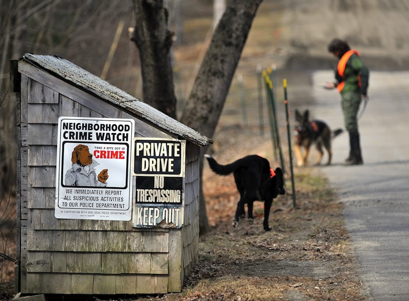 Members of the Maine Search and Rescue Dogs search an area along the side of Heath Court in Oakland for missing toddler Ayla Reynolds on Saturday, March 24, 2012. Authorities have renewed the search for Reynolds in spots that were previously covered in snow.
