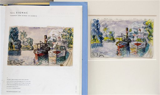 A print in a book shows a work by French painter Paul Signac, left, and the forged version and painted by art forger Mark A. Landis.