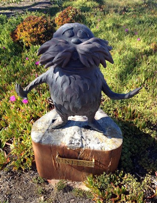 This undated photo shows a Lorax statue at the home of Audrey Geisel, widow of Theodore Geisel, the real name of Dr. Seuss, in San Diego. The 2-foot statue of Dr. Seuss's the Lorax has been stolen from the San Diego home of the author's 90-year-old widow. U-T San Diego says Audrey Geisel noticed Monday, March 26, 2012, that the statue was missing from her garden. (AP Photo/U-T San Diego)