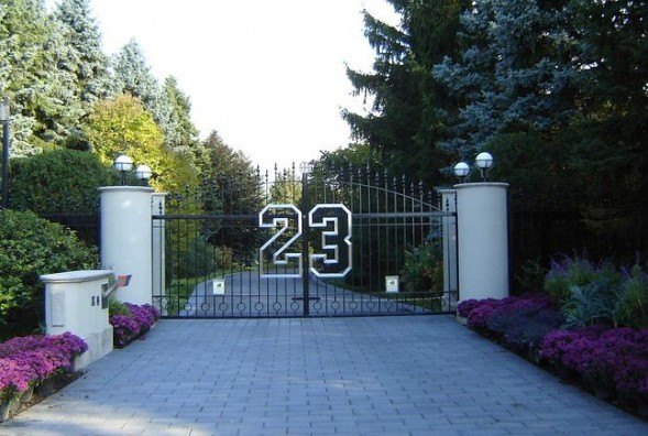 The gates to Michael Jordan's Highland Park, Ill., estate feature his number, 23.