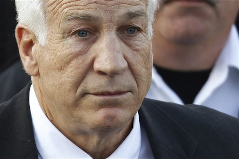 In this Dec. 13, 2011 photo, Jerry Sandusky, the former Penn State assistant football coach charged with sexually abusing boys, leaves the Centre County Courthouse in Bellefonte, Pa. A psychologist who looked into a 1998 allegation against Sandusky told police at the time that his behavior fit the profile of a likely pedophile, NBC News reported Saturday, March 24, 2012. (AP Photo/Matt Rourke, File)