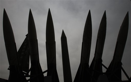 A mock North Korea's Scud-B missile, center, and other South Korean missiles are displayed at the Korea War Memorial Museum in Seoul, South Korea, where the leaders of South Korea, the United States and China issued stark warnings today about the threat of nuclear terrorism.