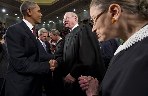 President Barack Obama greets Supreme Court Justice Anthony Kennedy and Ruth Bader Ginsburg, right, prior to his State of the Union address In this Jan. 24, 2012, photo.