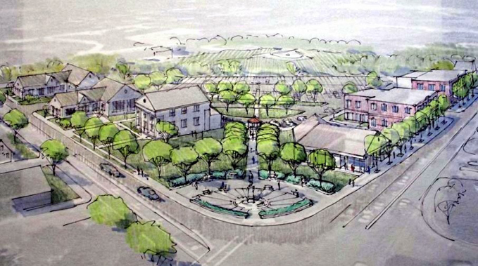 In this architect's rendering of Monument Square in Gray, Route 26 is to the left and Main Street to the right. The town and a local family foundation have grand visions for the strategic parcel.