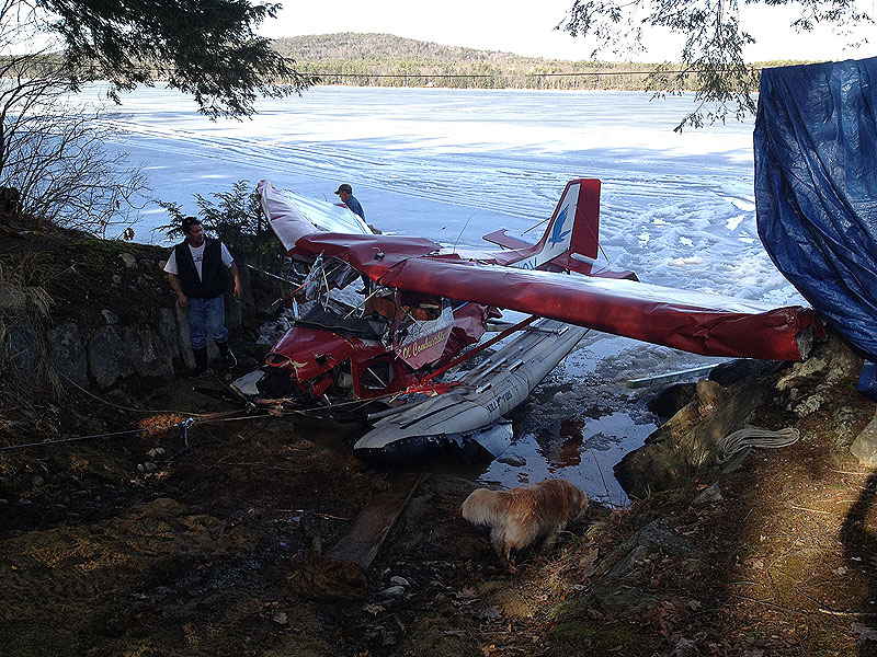 James Schaff's plane crashed into ice-covered Pleasant Lake Saturday, sending Schaff to the hospital with non life-threatening injuries.