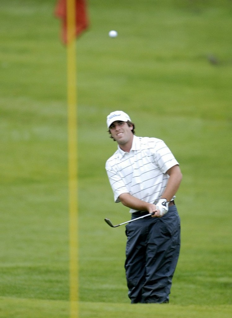In this 2009 photo, Jim Renner of Plainville, Mass., chips toward a pin at Riverside Golf Course during the Charlie's Portland Maine Open. Riverside is unveiling a new business plan, which includes a new clubhouse and marketing strategy.