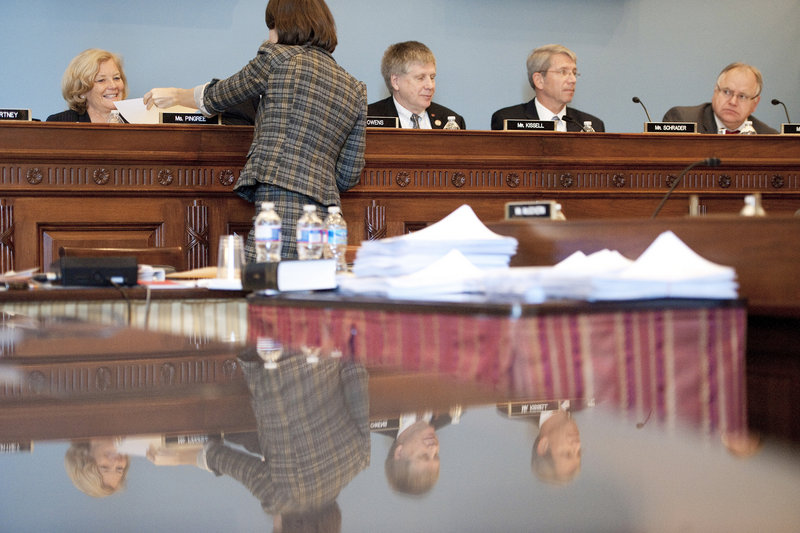 "Maine Rep. Chellie Pingree, D-1st District, left, participates in a House Agriculture Committee hearing on Capitol Hill on Jan. 25. ""There wasn't sufficient information provided ... (and) the process itself doesn't allow for enough regular updates,"" the congresswoman said about the USDA releasing public information about its investigation into the Hannaford beef recall. The investigation was closed Feb. 2."