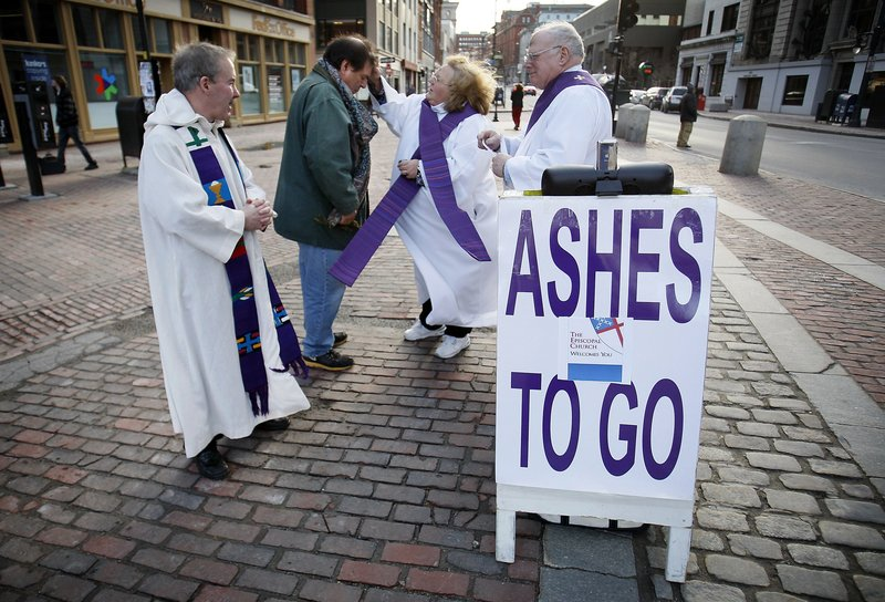 """Ashes to Go,"" which dispensed ashes in Monument Square in Portland to people unable to get to church on Ash Wednesday, wins praise from two letter writers."