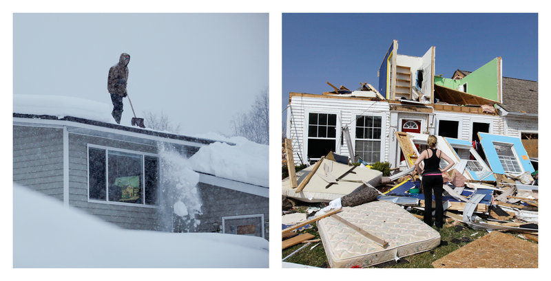 Doug Hamrick, left, shovels snow off his house in Anchorage on Jan. 12, and Katie Cramer views her destroyed house in Dexter, Mich., on Friday after a tornado hit Thursday night.