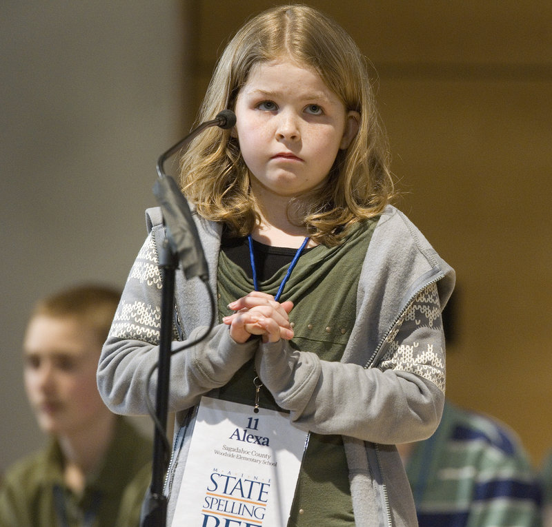 Alexa Eaton, 11, from Sagadahoc County, ponders a word before spelling it.
