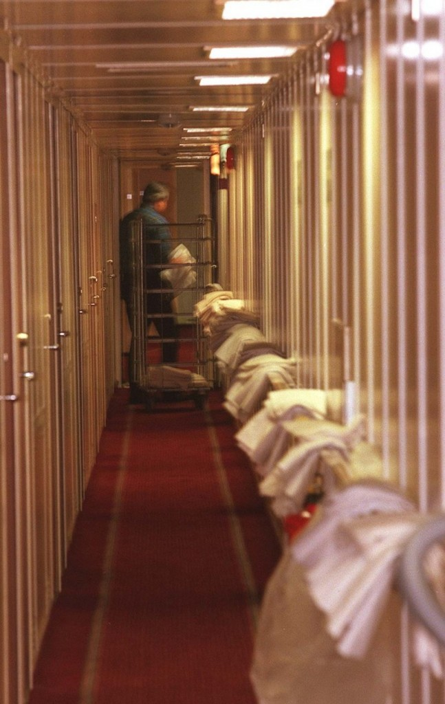 Bed linens hang outside cabins ready for passengers on the Scotia Prince in August 1999.