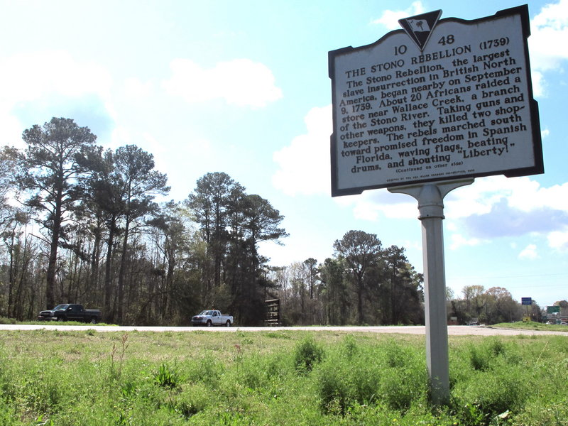 A roadside marker along U.S. 17 west of Charleston, S.C. stands near the site of the Stono Rebellion in 1739, the largest slave insurrection in British North America.