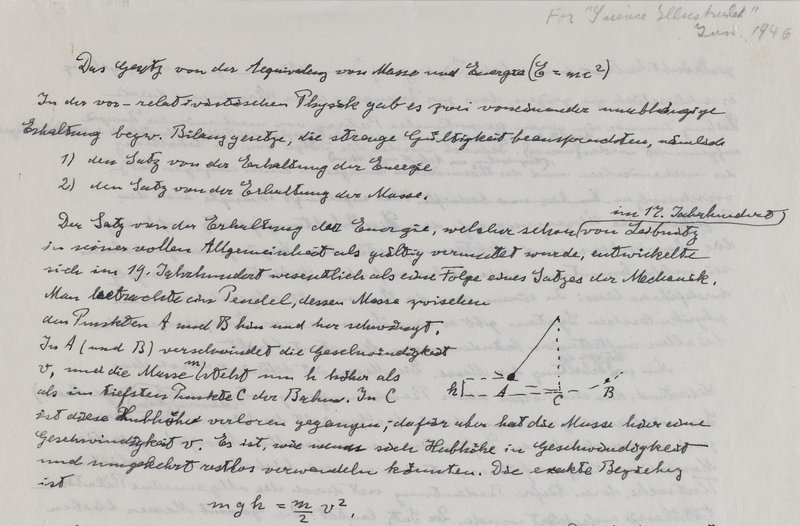 This shows part of one of only three existing manuscripts which contain Einstein's famous formula describing the relationship between energy (E), mass (m) and the speed of light (c), which derives from his theory of relativity.