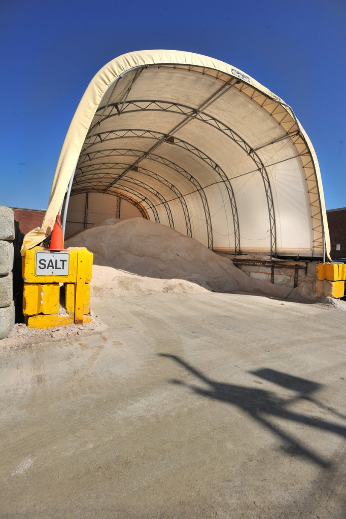 Portland has a large surplus of salt for treating roads, including this pile stored at the public works facility on Hanover Street.