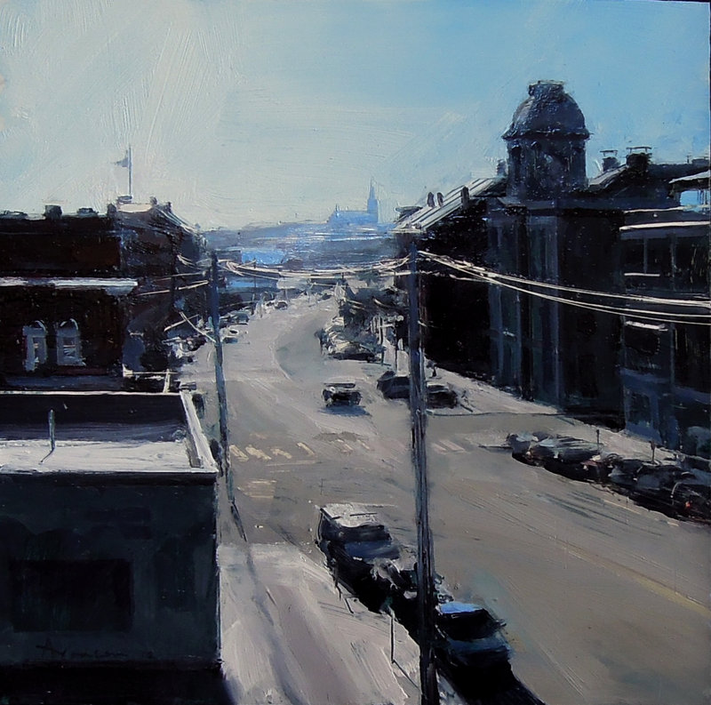 """Silver Light on the Waterfront, Portland,"" oil on panel by Ben Aronson."