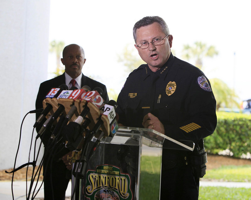 "Sanford, Fla., Police Chief Bill Lee holds a Thursday news conference in Sanford, Fla. City commissioners gave him a ""no confidence"" vote late Wednesday."